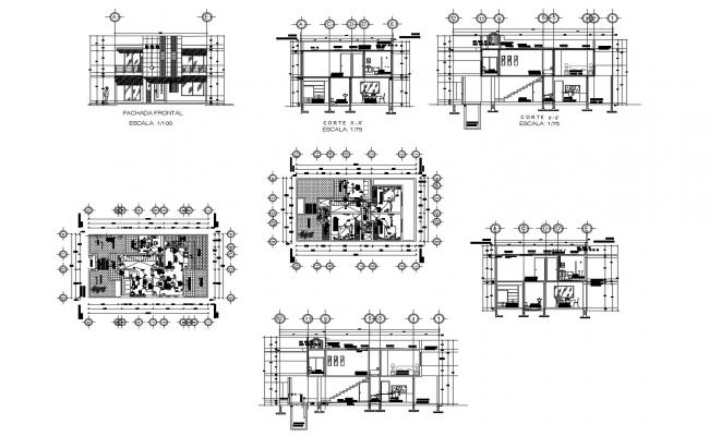 2 storey house 15.00mtr x 8.66mtr with elevation and section in dwg file