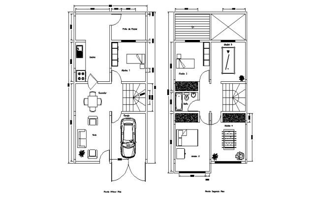 2 storey house 5.5mtr x 10mtr with detail dimension in dwg file