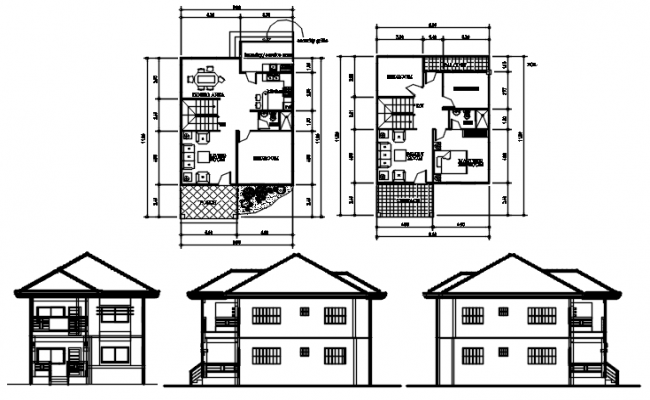 2 storey house 8.00mtr x 11.80mtr with detail dimension in autocad