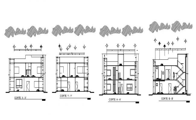2 storey house design in dwg file