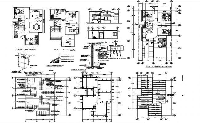 2 storey house plan in dwg file