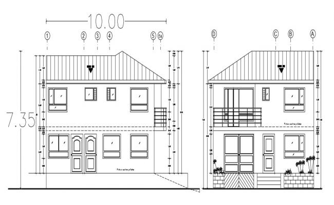 Two storey house design in DWG file