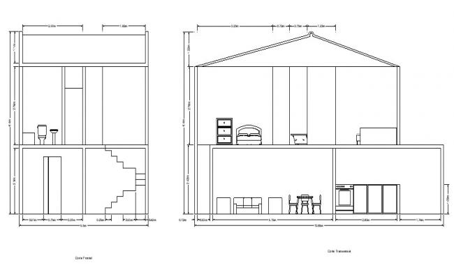 2 storey house plan with the section in dwg file