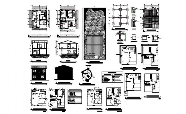 2 storey house with detail dimension in dwg file