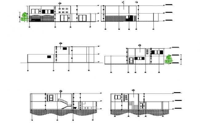2 storey house with elevation and section in dwg file