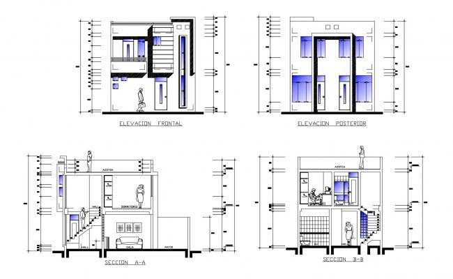 2 storey house with elevation details in AutoCAD