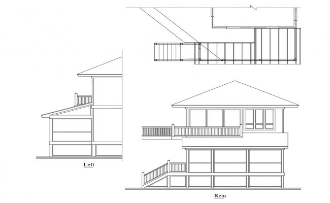 2 storey house with elevation in AutoCAD