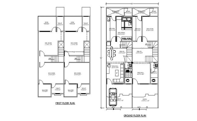 2 storey residential house with detail dimension in dwg file