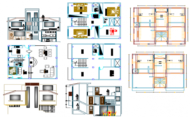storey residential housing planning and elevation view with dwg file