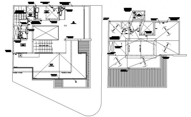 2 story bungalow 20.00mtr x 12.00mtr with elevation and section in AutoCAD