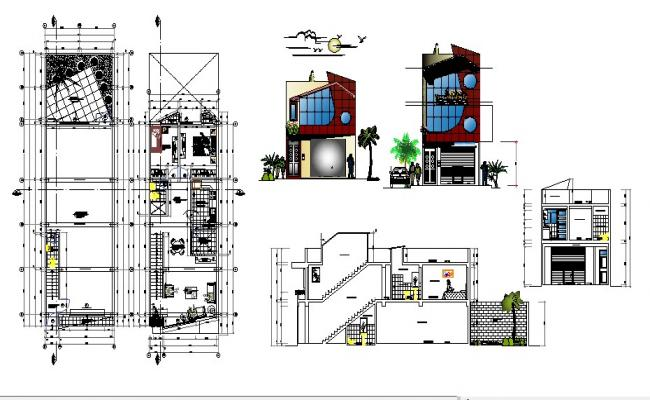 2 story bungalow 6.00mtr x 20.00mtr with detail dimension in dwg file