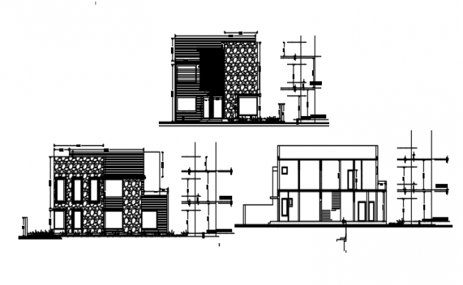 2 story house with elevation and section in dwg file