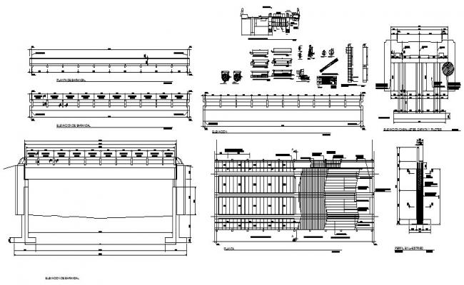 20 meters vehicular bridge elevation, section, plan and construction details dwg file