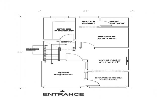 20 x 36 architectural plan with porch and large kitchen.