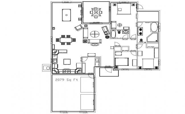 2079 sqft 3 BHK Residential Bungalow Design