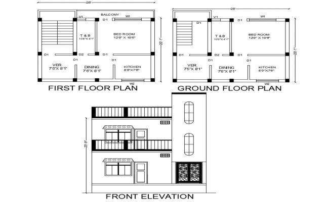 20' X 25' House Plan And Elevation Design AutoCAD File