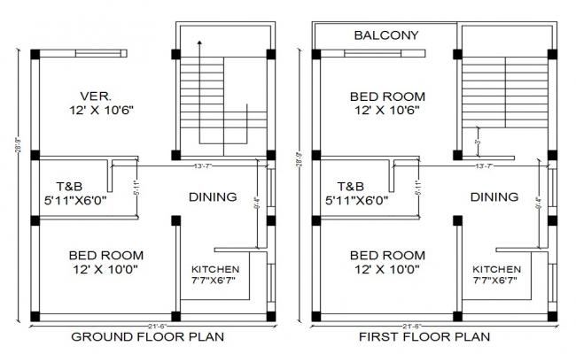 21' X 29' House Layout Plan Design AutoCAD File