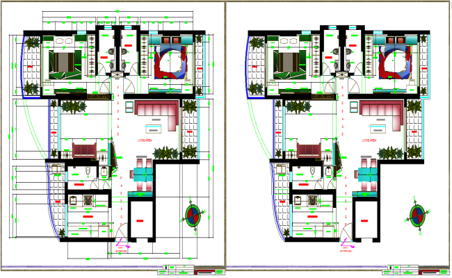 3 bhk apartment dwg