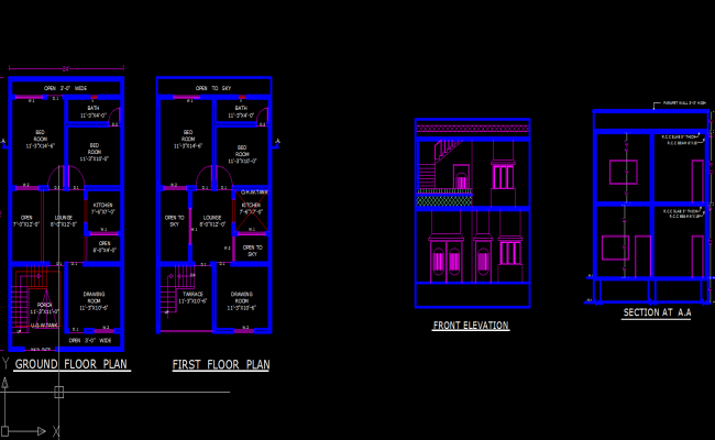 24 x 45 house floor  plan