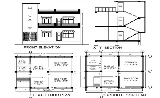 24' X 30' South Facing House Plan AutoCAD File