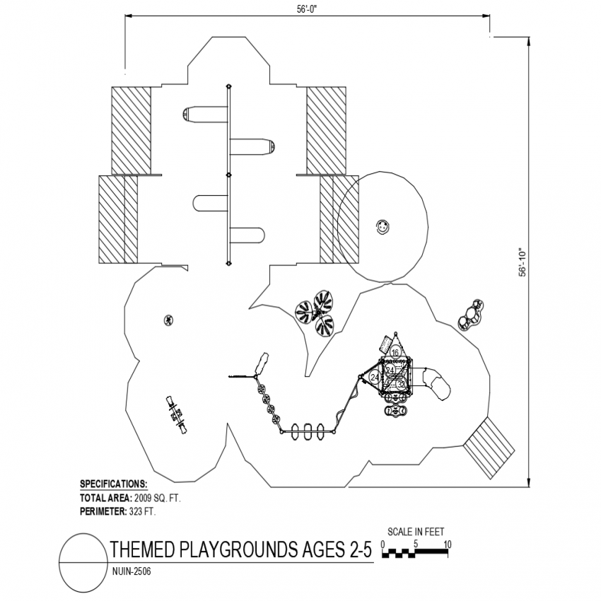 2506 model design with themed playground dwg file