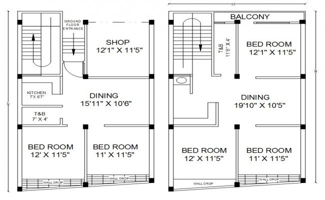 25' X 41' AutoCAD House Layout Plan Design DWG File