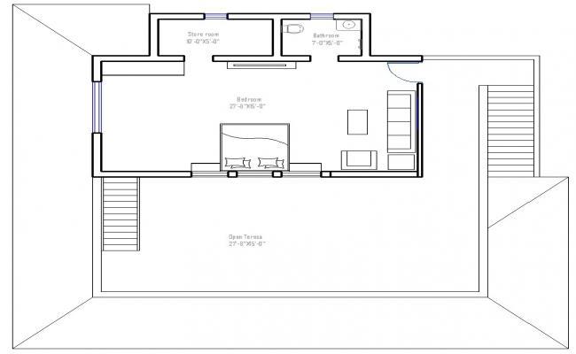 27ft X 15ft Bedroom Layout Design CAD File