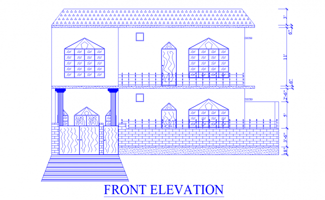 27' height G+1 house beautiful front elevation design available in this DWG file.