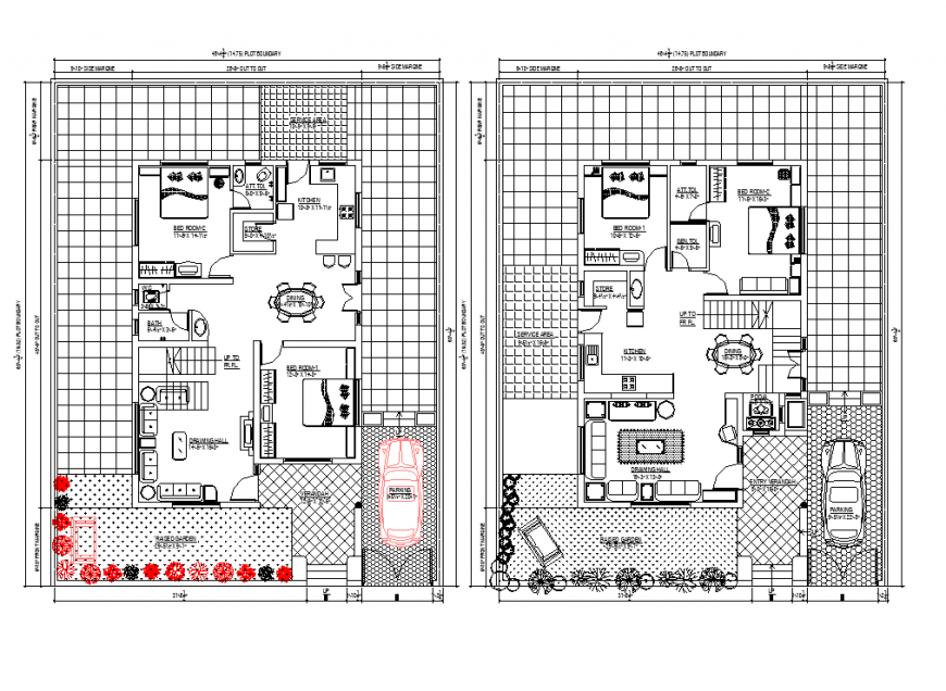 285 SQ.MT house planning detail autocad file
