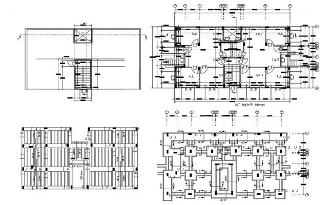 2 BHK Apartment Construction Working Plan CAD Drawing