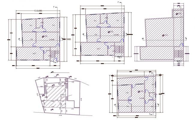 2 BHK Multifamily Apartment Floor Plan AutoCAD File