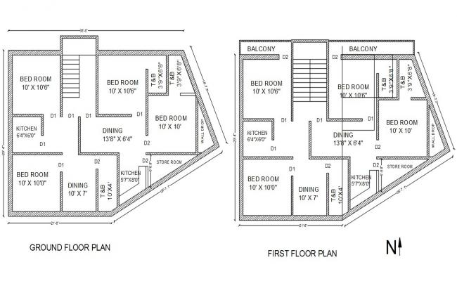 2 Bedroom House Floor Plans North Facing CAD Drawing