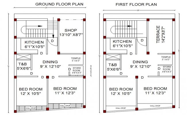 2 Bedroom House Ground Floor And First Floor Plan AutoCAD File