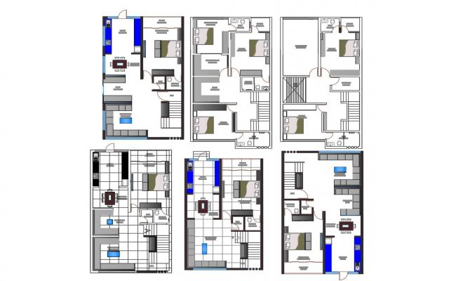 2D CAD Bungalow Floors Plan With Fully Furnished Drawing AutoCAD File