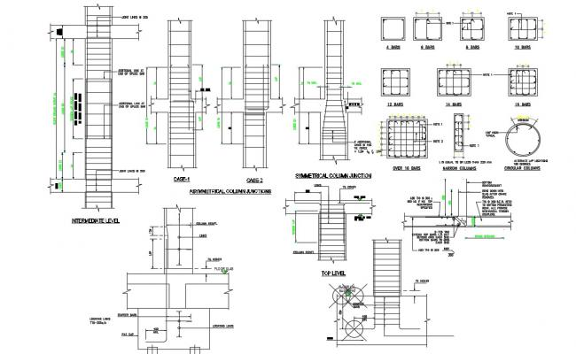 2D CAD Drawing Beam Section Design And Bars AutoCAD File