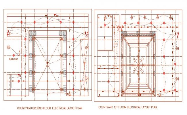 2D CAD Drawing Courtyard Designs With Electric Plan AutoCAD File