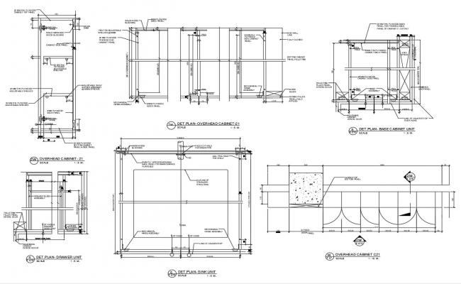 2D CAD Drawing Kitchen Cabinet Construction Design  AutoCAD File