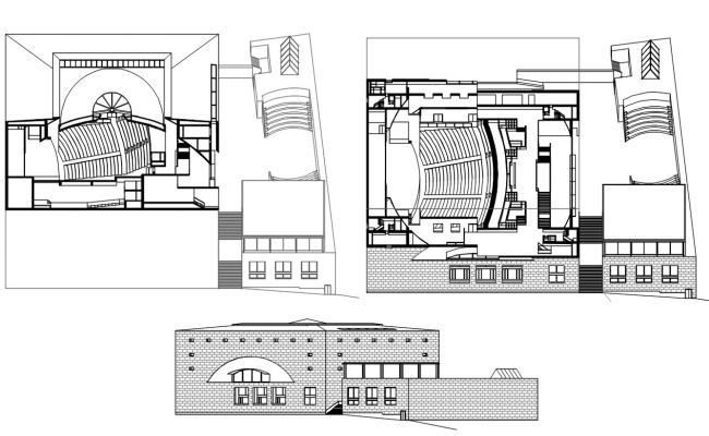 2D CAD Drawing Of Auditorium Layout Plan And Elevation Design DWG File