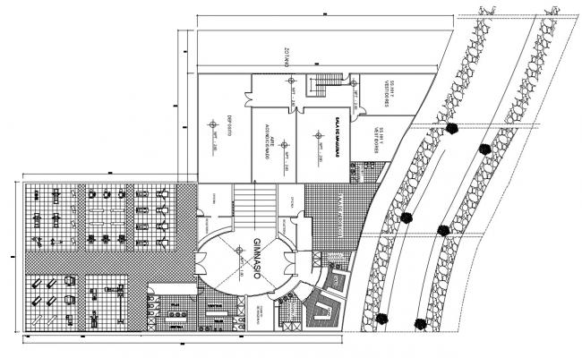 2D CAD Drawing Of Huge Club Design With GYM AutoCAD File
