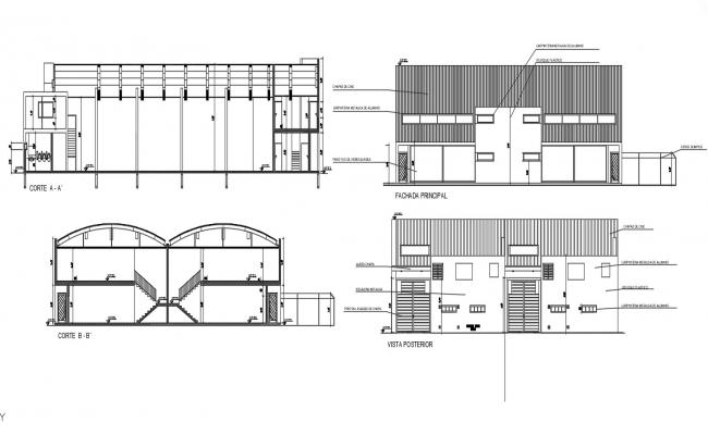 2D CAD Drawing Of Industrial Building Section And Elevation Design AutoCAD File