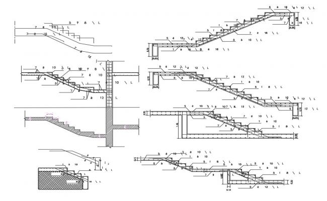 2D CAD Drawing Of RCC Staircase Construction Section Drawing DWG File