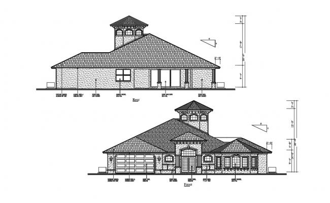2D CAD Drawing Rear And Front Side Sloping Roof Elevation Of Huge Bungalow AutoCAD File
