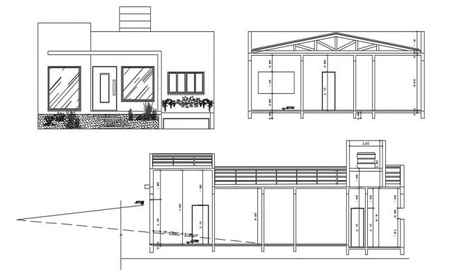 2D CAD Drawing Simple House Front Design And Section AutoCAD Format.
