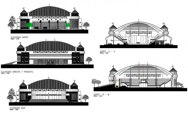 2D CAD Drawing Three Side Elevation And Section Of Stadium AutoCAD File