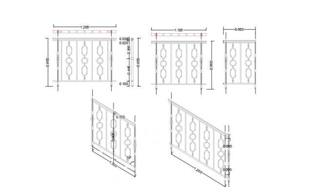 2D CAD File Balcony Railing Design Iron Free Download