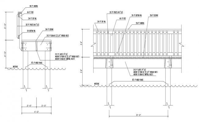 2D CAD File Railing Fixing Elevation Design AutoCAD File