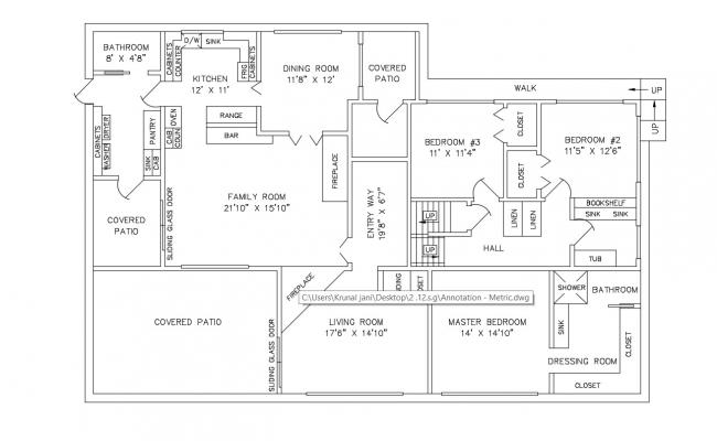 2D CAD Luxury Bungalow House Plans With Texting Layout AutoCAD File