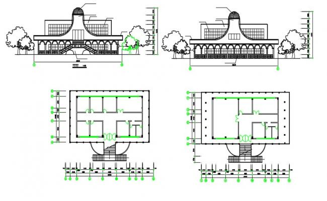 2D Cad Drawing Download Commercial Building Plans With Elevation AutoCAD File