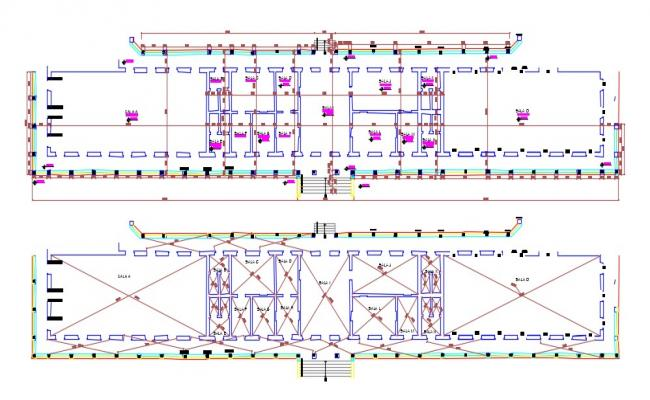 2D DWG Drawing Commercial Building Plans With Dimensions AutoCAD File