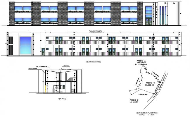 2D DWG Drawing Hotel Elevation Design With Basic Rendered Architecture AutoCAD File